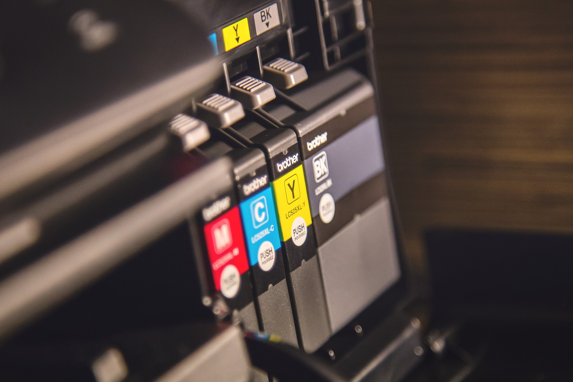 Close-up of buttons on printer